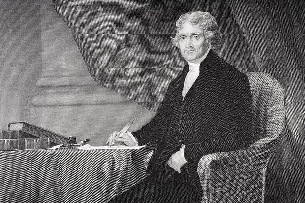 Thomas Jefferson Art Print featuring the drawing Portrait Of Thomas Jefferson by Alonzo Chappel