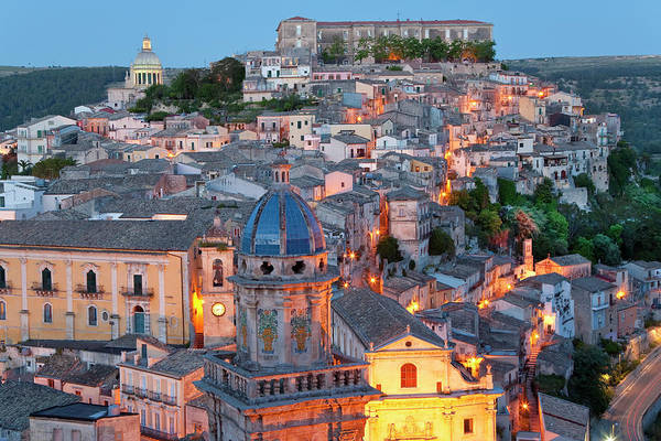 Architecture Art Print featuring the photograph Ragusa At Dusk, Sicily, Italy by Peter Adams