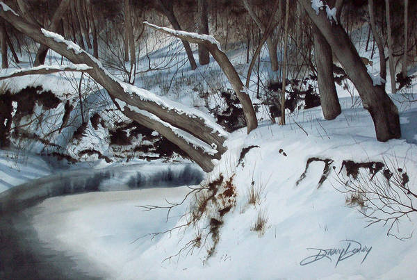 Snowy Landscape Art Print featuring the painting Rattlesnake Creek by Denny Dowdy