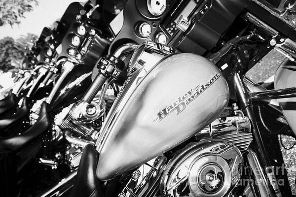 Harley-davidson Art Print featuring the photograph Row Of Harley Davidson Street Glide Motorbikes Outside Motorcycle Dealership Orlando Florida Usa by Joe Fox