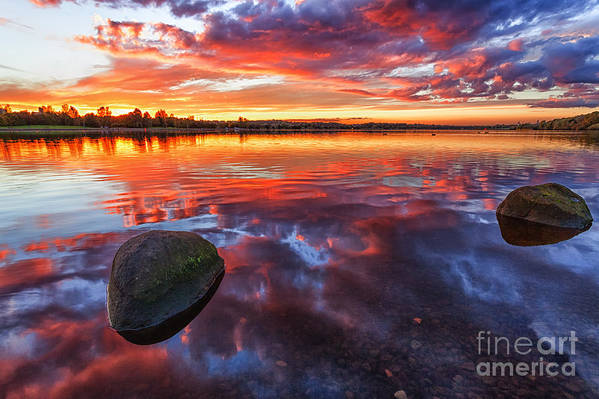 Scotland Canvas Art Print featuring the photograph Scottish Loch At Sunset by John Farnan