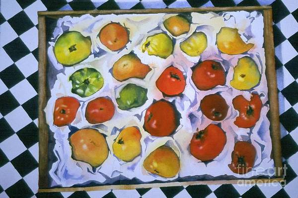 Tomatoes Print featuring the painting Stop On Red by Elizabeth Carr