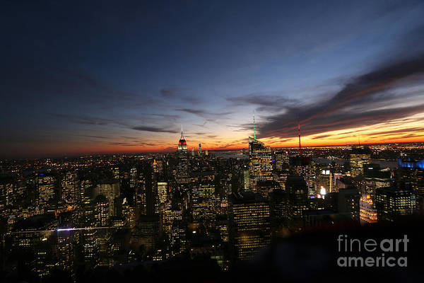 Rockefeller Center Art Print featuring the photograph Sunset From Top Of The Rock by Steven Spak