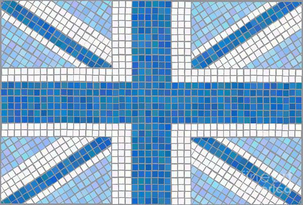 Background Art Print featuring the digital art Union Jack Blue by Jane Rix