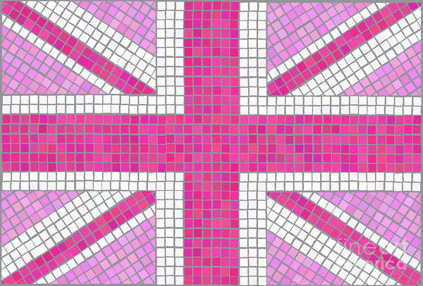 Background Art Print featuring the digital art Union Jack Pink by Jane Rix