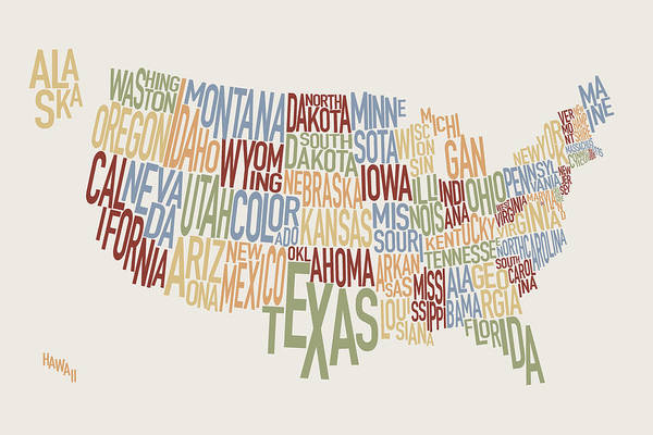 Usa Map Art Print featuring the digital art United States Text Map by Michael Tompsett