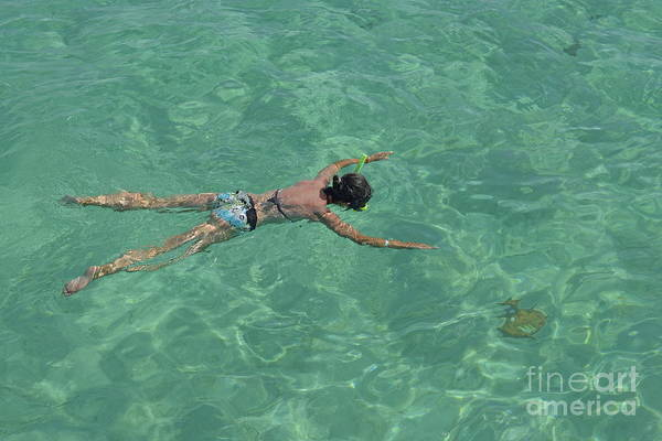People Art Print featuring the photograph Woman Snorkeling By Turquoise Sea by Sami Sarkis