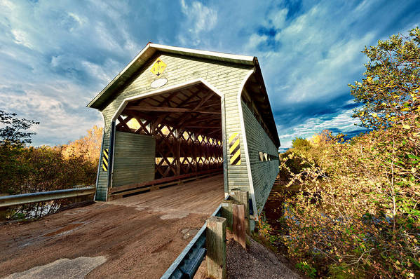 Bridge Art Print featuring the photograph Wooden Covered Bridge by U Schade