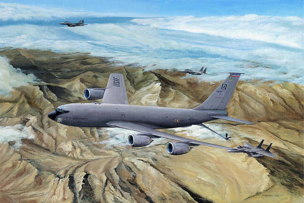 100th Arw Flagship Art Print featuring the painting 100th Arw Flagship by Kenneth Karl