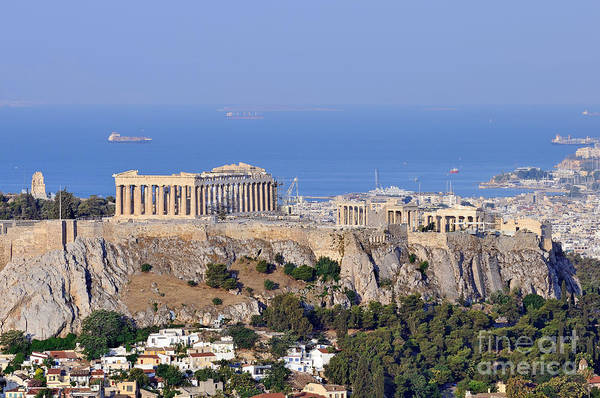 Acropolis; Acropoli; Akropoli; Akropolis; Parthenon; Monument; Athens; City; Capital; Attica; Attika; Attiki; Greece; Hellas; Greek; Hellenic; Europe; European; Temple; Ancient; Old; Sea; Holidays; Vacation; Travel; Trip; Voyage; Journey; Tourism; Touristic; Summer; Summertime; Hill; Photos; Photograph; Photography Art Print featuring the photograph Acropolis Of Athens by George Atsametakis