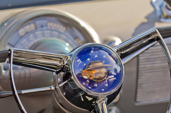 1950 Rocket 88 Oldsmobile Print featuring the photograph 1950 Oldsmobile Rocket 88 Steering Wheel by Jill Reger
