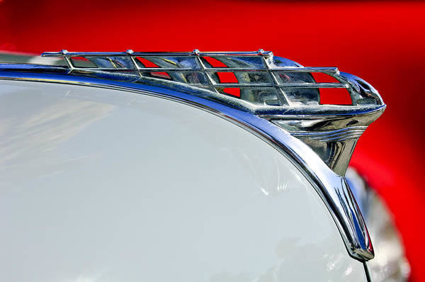 1950 Plymouth Coupe Art Print featuring the photograph 1950 Plymouth Hood Ornament 3 by Jill Reger