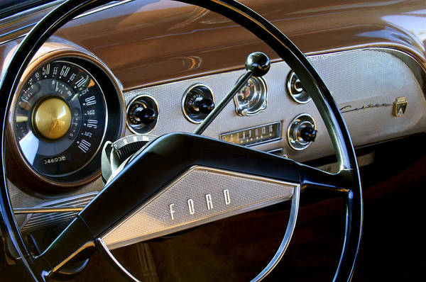 1951 Ford Crestliner Print featuring the photograph 1951 Ford Crestliner Steering Wheel by Jill Reger