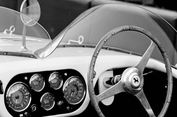 1953 Ferrari 340 Mm Lemans Spyder Steering Wheel Emblem Print featuring the photograph 1953 Ferrari 340 Mm Lemans Spyder Steering Wheel Emblem by Jill Reger