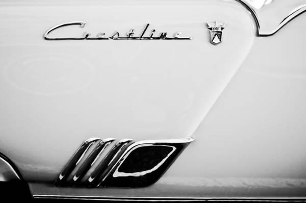 1954 Ford Crestline Skyliner Emblem Art Print featuring the photograph 1954 Ford Crestline Skyliner Emblem -0560bw by Jill Reger