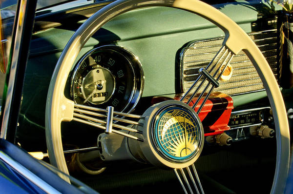 1956 Volkswagen Vw Bug Print featuring the photograph 1956 Volkswagen Vw Bug Steering Wheel 2 by Jill Reger