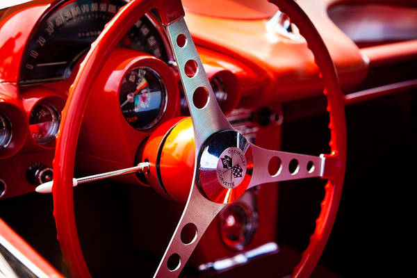 59 Art Print featuring the photograph 1959 Chevy Corvette Steering Wheel by David Patterson