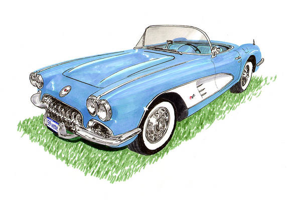 Framed Art Prints Of 1959 Corvette Frost Blue With White Coves Detailed & Ready Print featuring the painting 1959 Corvette Frost Blue by Jack Pumphrey