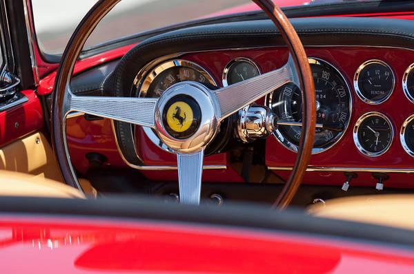 1960 Ferrari 250 Gt Cabriolet Pininfarina Series Ii Steering Wheel Emblem Art Print featuring the photograph 1960 Ferrari 250 Gt Cabriolet Pininfarina Series II Steering Wheel Emblem by Jill Reger
