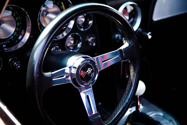 63 Art Print featuring the photograph 1963 Chevy Corvette Stingray Steering Wheel by David Patterson