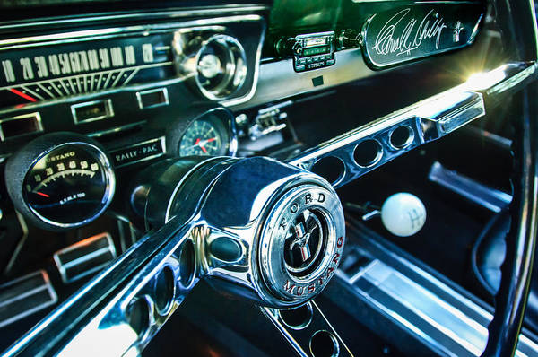 1965 Shelby Prototype Ford Mustang Steering Wheel Art Print featuring the photograph 1965 Shelby Prototype Ford Mustang Steering Wheel Emblem 2 by Jill Reger