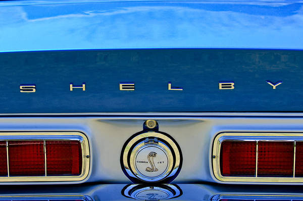 1968 Shelby Art Print featuring the photograph 1968 Ford Shelby Gt500 Kr Convertible Rear Emblems by Jill Reger