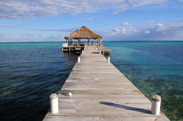 Belize Art Print featuring the photograph Beach Deck With Palapa Floating In The Water by Brandon Bourdages