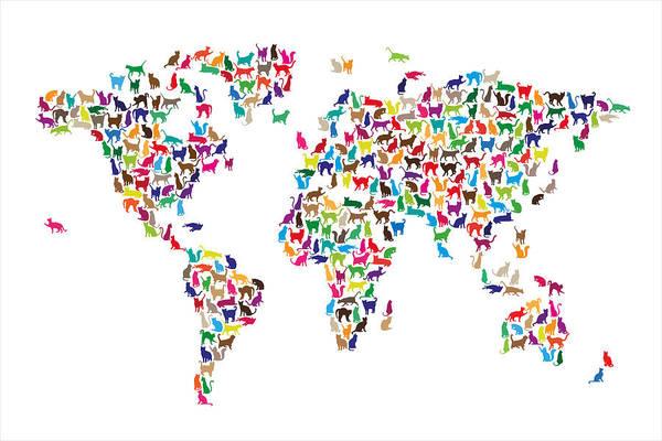 World Map Art Print featuring the digital art Cats Map Of The World Map by Michael Tompsett