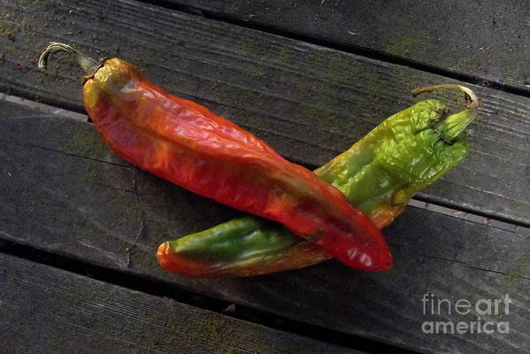 Chilies Art Print featuring the photograph 2 Chilies by Charles Majewski