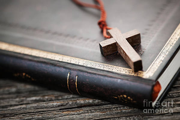 Cross Art Print featuring the photograph Cross On Bible by Elena Elisseeva