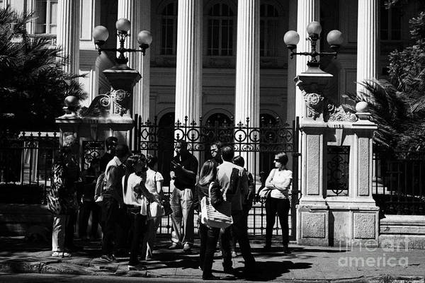 Former Art Print featuring the photograph guided tour group outside the former national congress building Santiago Chile by Joe Fox