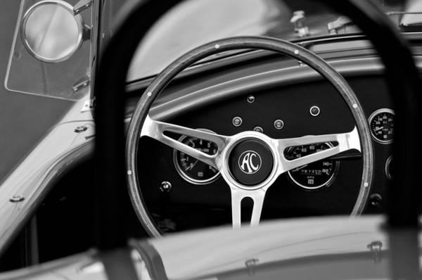 Shelby Ac Cobra Steering Wheel Art Print featuring the photograph Shelby Ac Cobra Steering Wheel by Jill Reger