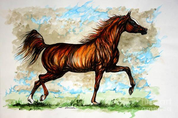Horse Art Print featuring the painting The Chestnut Arabian Horse by Angel Ciesniarska