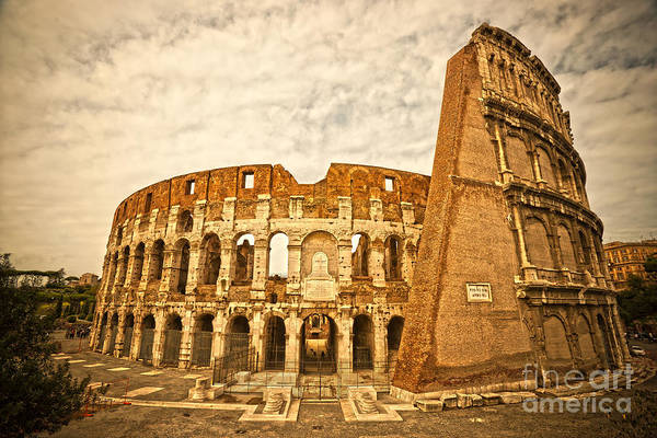 Column Print featuring the photograph The Majestic Coliseum - Rome by Luciano Mortula