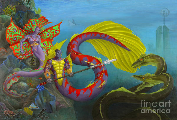 Mermaid Art Print featuring the painting The Threat by Melissa A Benson