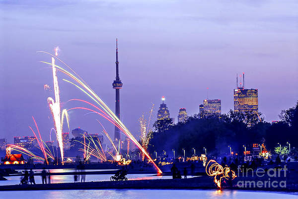 Toronto Art Print featuring the photograph Toronto Fireworks by Elena Elisseeva