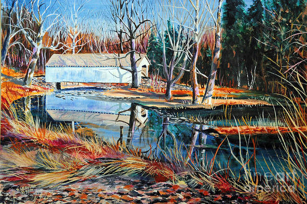 Covered Bridge Print featuring the painting White Covered Bridge by Doug Heavlow