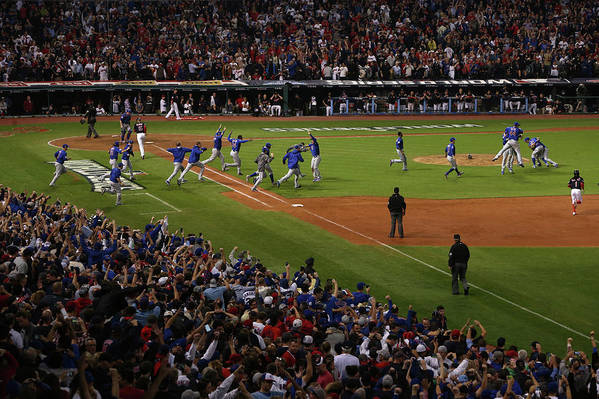 American League Baseball Art Print featuring the photograph World Series - Chicago Cubs V Cleveland 2 by Ezra Shaw
