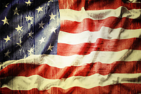 Old Art Print featuring the photograph American Flag by Les Cunliffe