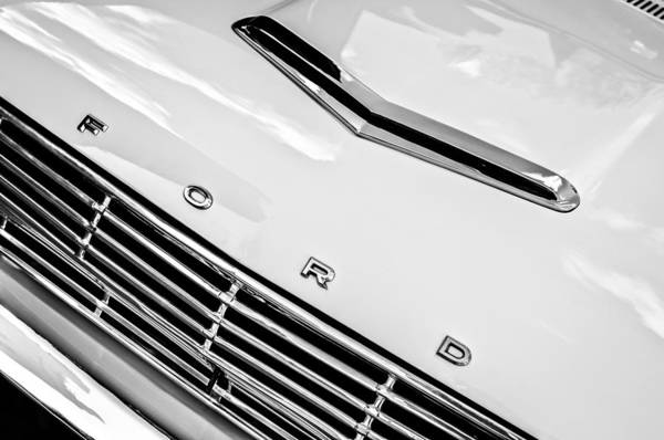 1963 Ford Falcon Futura Convertible Hood Emblem Art Print featuring the photograph 1963 Ford Falcon Futura Convertible Hood Emblem by Jill Reger