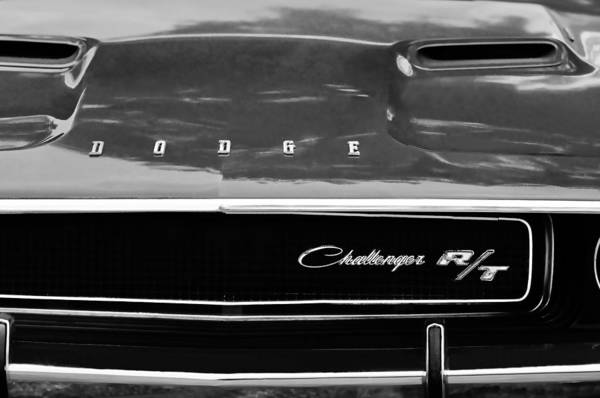 1970 Dodge Challenger Rt Convertible Grille Emblem Art Print featuring the photograph 1970 Dodge Challenger Rt Convertible Grille Emblem by Jill Reger