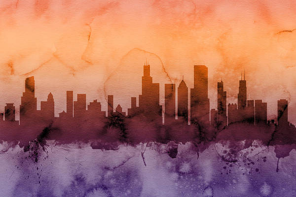 Chicago Art Print featuring the digital art Chicago Illinois Skyline by Michael Tompsett