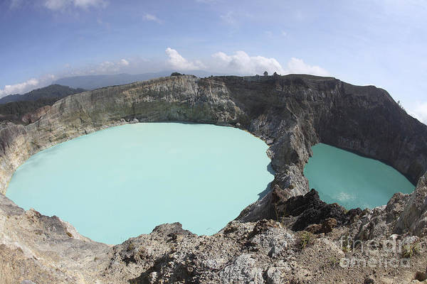 Horizontal Print featuring the photograph Colourful Crater Lakes Of Kelimutu by Richard Roscoe