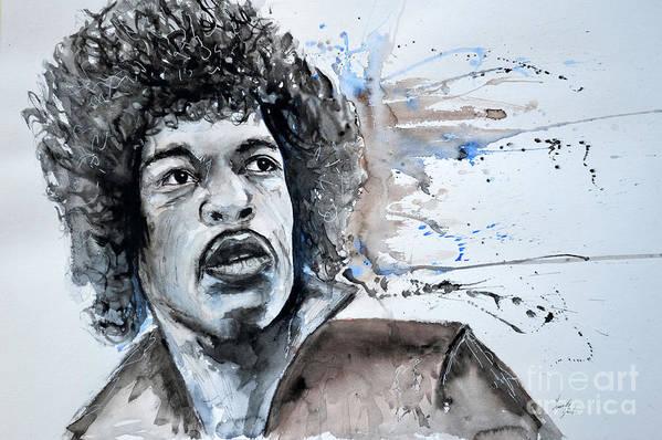 Portrait Art Print featuring the painting Jimi Hendrix by Ismeta Gruenwald