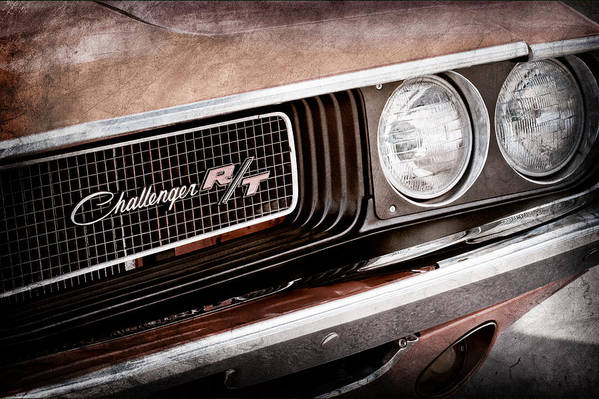 Dodge Challenger Rt Grille Emblem Art Print featuring the photograph Dodge Challenger Rt Grille Emblem by Jill Reger