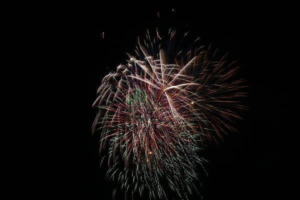 Fireworks Art Print featuring the photograph 4th Of July Fireworks by Alan Hutchins