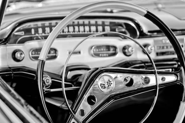 1958 Chevrolet Impala Steering Wheel Art Print featuring the photograph 1958 Chevrolet Impala Steering Wheel by Jill Reger