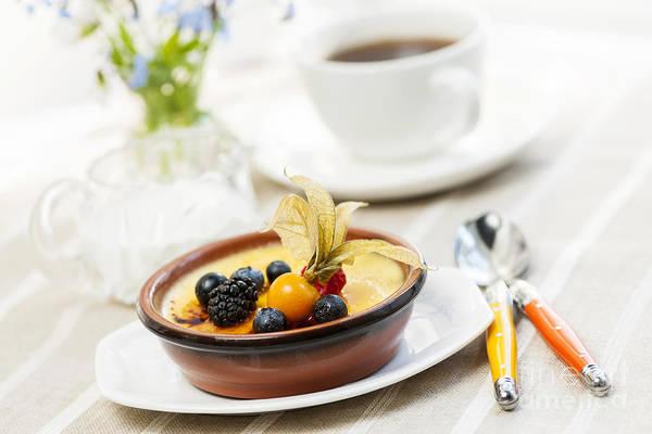 Creme Brulee Art Print featuring the photograph Creme Brulee Dessert by Elena Elisseeva