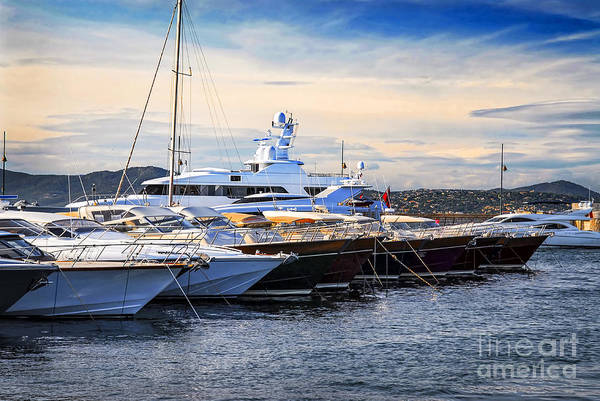 Yacht Print featuring the photograph Boats At St.tropez by Elena Elisseeva