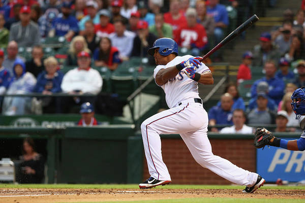 Adrian Beltre Art Print featuring the photograph Kansas City Royals V Texas Rangers 6 by Ronald Martinez